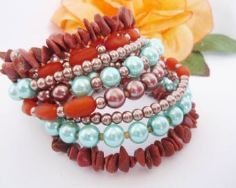 Memory Wire Bracelet Stacked Bracelet Bohemian Boho Wrap Bracelet Orange Turquoise and Brown Goldstone Sunstone Bracelet