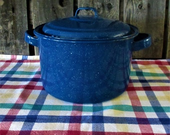 Stock Pot Blue Enamelware vintage Large