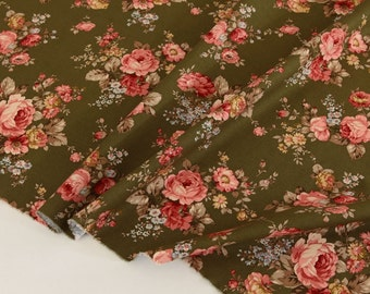 Shabby Chic Roses Khaki Cotton By the yard (width 44 inches) 67603