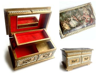 Baroque Music Jewelry Box, Romantic Baroque Music Box, Vintage Musical Jewelry Box, Florentine Gold Musical Jewelry Box, Dancers Music Box