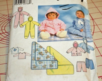 UNCUT, Simplicity 7807, Sewing Pattern, Babies, Romper, Jacket, Pants, Blanket, Knit Top, Newborn, Small, Medium and Large, OLD2NEWMEMORIES