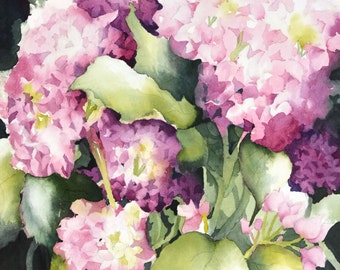 Floral Illustration, Watercolor Flower Wall Decor, Watercolor Painting, Pink Spring Art, Pink Wall Art, Floral Home Decor, Hydrangea, 11x14+