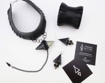 statement jewelry set - minimal jewelry - leather choker, leather bracelet, cone earrings, extravagant jewelry