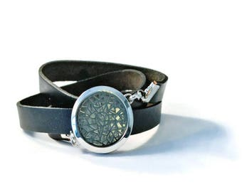 Diffuser Locket Aromatherapy Faux Leather Wrap Bracelet, Essential Oil Diffusing Jewelry