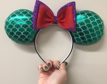 Ariel Green Mermaid Scales ears headband