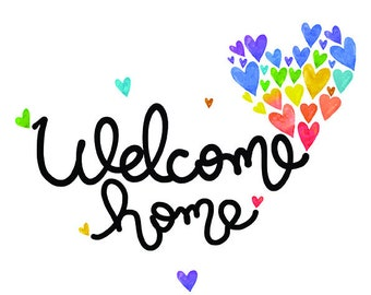 Affiche Welcome home coeurs