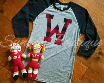WKU shirt, Tops Shirt, Western Kentucky University, WKU, Tops, W, Raglan, Buffalo Plaid, Flannel, Football