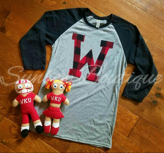 WKU shirt, Tops Shirt, Western Kentucky University, WKU, Tops, W, Raglan, Buffalo Plaid, Flannel, Football