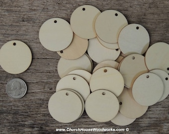 1.5 inch wooden TAG craft circles, DIY craft supplies one and half inch wood circles, wood coins, wood disk, rounds, cookies, with hole