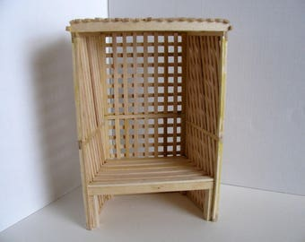 Miniature Garden Arbor with Seat /1:12 Scale Doll House Garden Furniture / Handmade with Birch / Unfinished