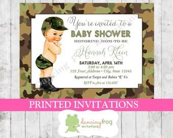 Camo baby shower invitations etsy vintage antique army camo camouflage soldier baby shower invitation filmwisefo Gallery