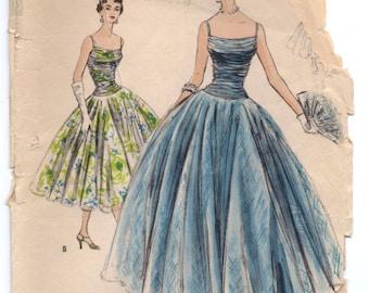 "1950's Vogue Special Design Evening Dress Pattern - Bust 30"" - No. s4606"