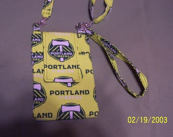 Portland Timbers Print Fabric Cell Phone Purse With Adjustable & Removable Shoulder Strap and Removable Wrist Strap