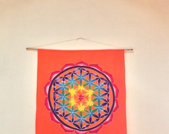Wall hanging, Hand Painted Batik Flower of Life, Sacred geometry yoga decor meditation room altar
