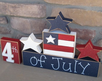 4th of JULY BLOCKS with stars and flag blocks for table decor, desk, shelf, mantle, and party decor