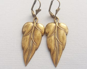 Antique Gold Art Deco Leaf Earrings, Statement Earrings, Gold Earrings, Ethnic Earrings, Boho Earrings, Bronze or Gold Filled Wires