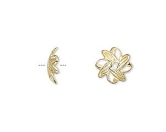 6014FN Bead cap, gold plated brass, 10x3mm fancy leaf, fits 10-12mm bead 100 Qty