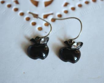 Vintage Black Apple Earrings   Dainty Fruit Earrings   Collectible Gift Idea  