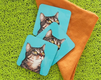 Tabby Cat Coasters, Colorful Coasters for Cat Lovers, Striped Cat Art, Pop Art Cat Coasters, Housewarming Gift for Cat Lover, Tiger Cat Art
