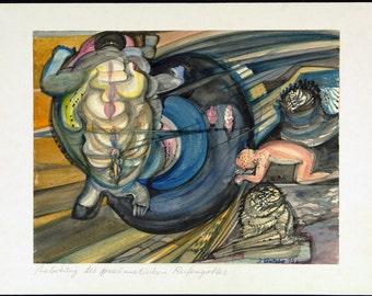 Anbetung des pneumatischen Reifengottes, 1975. Gouache by Joachim GUTSCHE