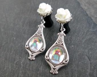 Victorian Dangle Plugs - 10g - 8g - 6g - 4g - 2g - 0g - Rose Gauges - Wedding Plugs - Wedding Gauges - Prom Plugs - Plug Earrings
