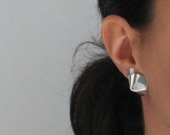 Folded earrings sterling silver earrings leaf earrings vintage earrings handmade earrings geometric earrings large earrings - amejewels