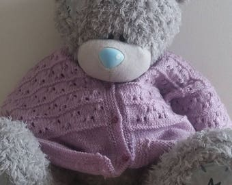 Purple girl 3 month made Wool Cardigan with