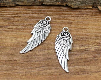 20pcs Antique Tibetan Silver Rose Flower Wings Charms Pendant 2 Sided 31x11mm C0685-Y