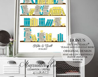 Wedding Guest Book - Library Guest Book Sign - Wedding Guest Book Alternative - Wedding Signs - Bookshelf Guest Book, Wedding Gift for Bride