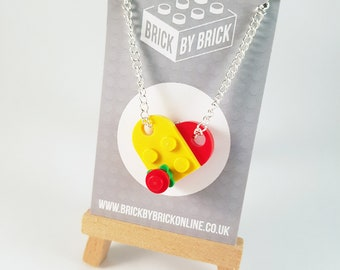 LEGO® Heart flower necklace - red yellow - silver plated - geek necklace