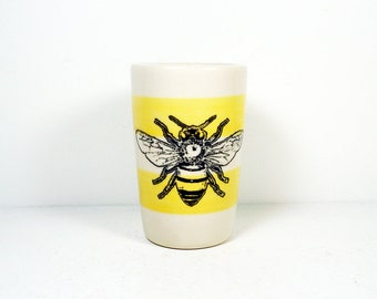 itty bitty cylinder / vase / cup with a bee print on lemon butter stripes READY TO SHIP