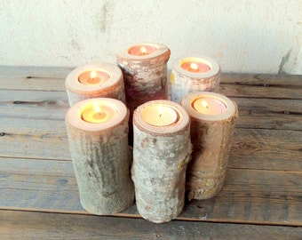 Set of 6 Wood Branch Candle Holders - Wood Log Holders - Wedding Decoration - Home Decoration - Wedding Centerpiece.