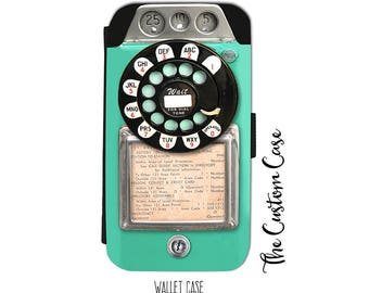 Retro Payphone Wallet Phone Case, Vintage Turquoise Coin Phone Case, Vintage Dial Phone Wallet Case, for Samsung Galaxy and Iphone cases