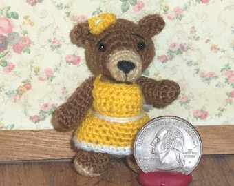 Miniature Crochet Bear Thread Artist Bear  Ready to Ship