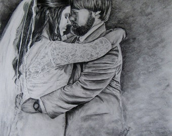 Custom made Wedding Charcoal Drawing-11x14-Example Only