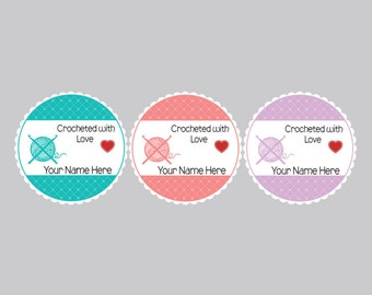 Set of 8 Crocheted by Tags, Yarn Tags, Personalized Tags, Crocheted with love tags, Crocheted labels, Personalized labels
