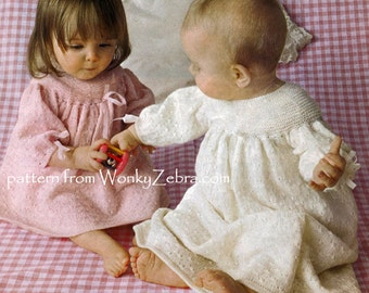 Vintage Knit Knitted Knitting Christening Baptism Dress Pattern PDF B086 from WonkyZebra