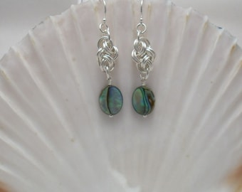 Earrings: Abalone Shell Ovals on Double Cloud Cover Argentium Silver Handmade Chainmaille