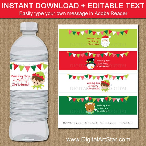 Christmas Water Bottle Labels Christmas Party Decor Kids