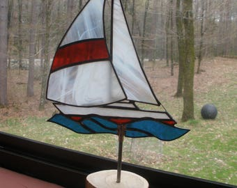Stained Glass Sailboat for the garden