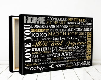 Personalized gift for wife, personalized words on canvas, Personalized gift canvas, Family Story Art Canvas made with your words