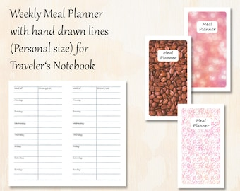 Personal TN   3 covers   Weekly Meal Planner with 3 covers   Hand drawn lines for Traveler's Notebook   Planner Insert