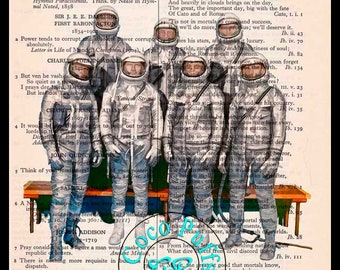 NASA Mercury 7 Astronauts Drawing - Beautifully Upcycled Vintage Dictionary Page Book Art Print