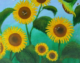 Sunflowers and Bees: Original Painting in Acrylics on Box Canvas by Alan Lees