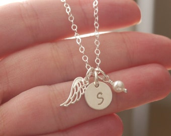 Sterling Silver Angel Wing Necklace, Initial Pearl Angel Wing Necklace, Initial Birthstone, Remembrance Gift, Memorial Gift, Personalized