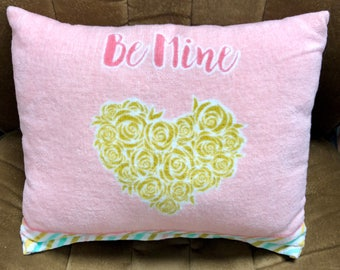 """Hand-sewn LOVE Statement Plush Pillow Measures Approx. 12"""" x 16"""" Pink Terrycloth """"Be Mine"""" ADORABLE"""