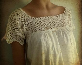 Antique Victorian White Cotton Nursing Gown, 1900s