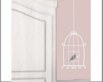 Bird Cage Wall Decal, Bird Cage Wall Stickers, Bird Cage Decor, Removable Vinyl Wall Art Decorations, Bird Decals Birds