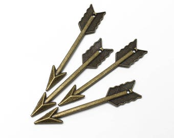 Large Antique Brass Arrow Charms - 4 Pieces