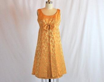 "Vintage 1950s Cocktail Dress | 50s Party Dress | Golden Brocade Party Dress | Sue Leslie 28"" Waist Medium"